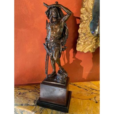 The Hunter On The Lookout, Large Bronze By Kowalczewski (1865-1910)