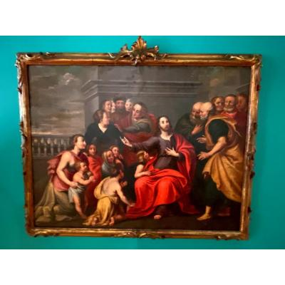Christ With Children, Large Oil On Copper From XVII Eme Century