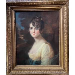 Portrait De Jeune Femme, Pastel Du XIX Eme Siècle