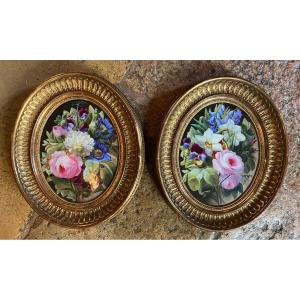 Pair Of Spring Flower Bouquets Painted On Porcelain,
