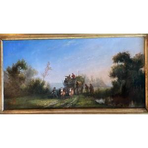 Oil On Panel, Return From The Fields XIX Eme Century