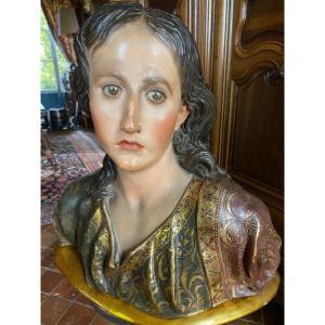 Important Buste En Bois Polychrome De Style Baroque Fin Du XIX Eme Siècle