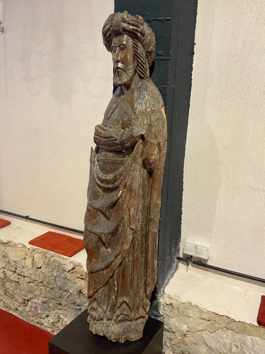 Grande Statue Travail Des Flandres Du XIVe - XVe Siècle-photo-5