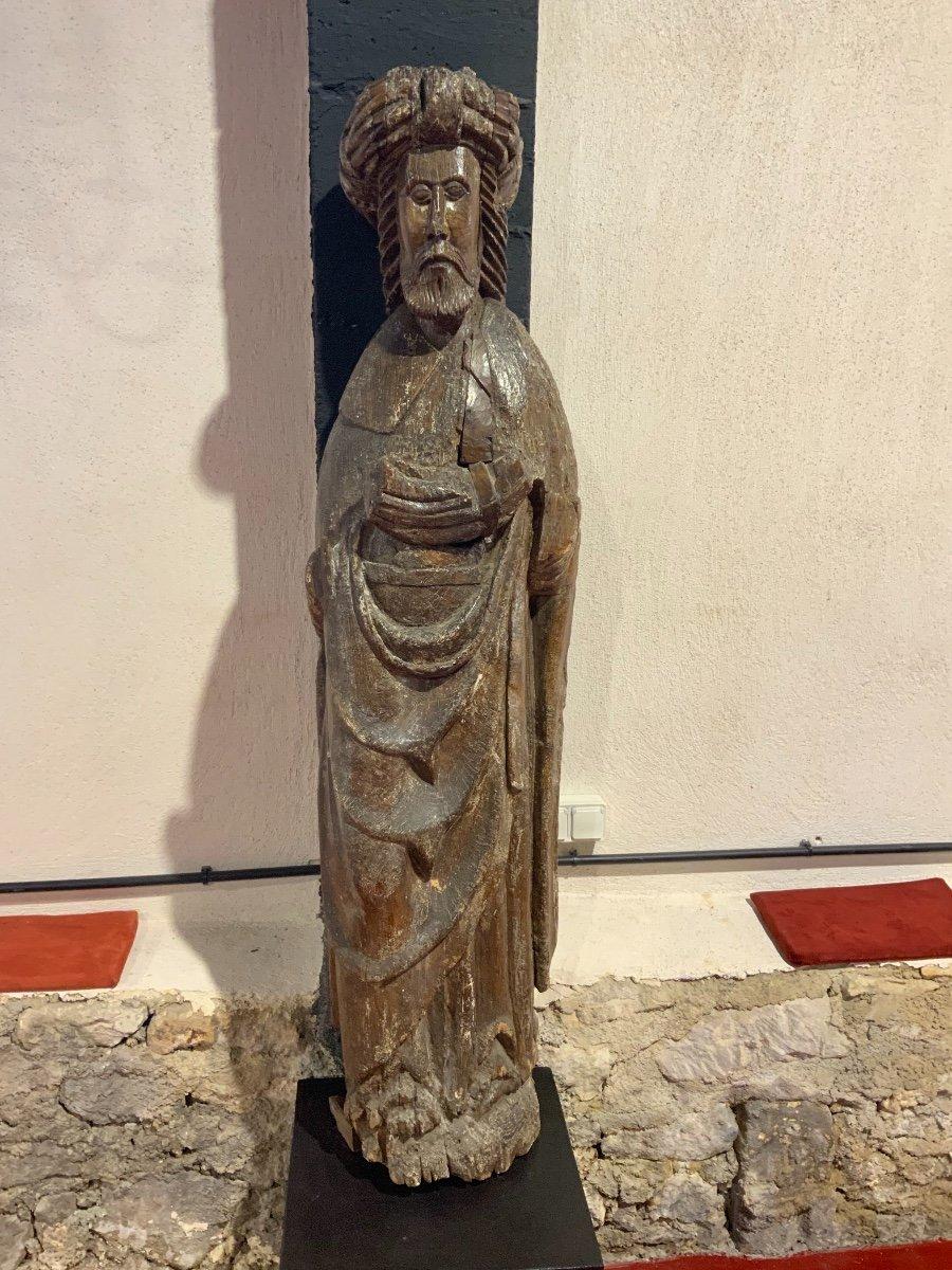 Grande Statue Travail Des Flandres Du XIVe - XVe Siècle
