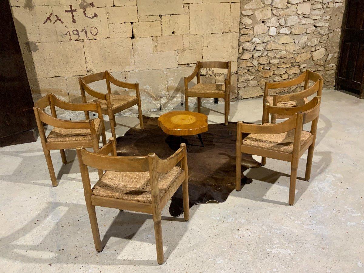 Suite De 6 Chaises «carimate» Par Vico Magistretti (1920-2006)