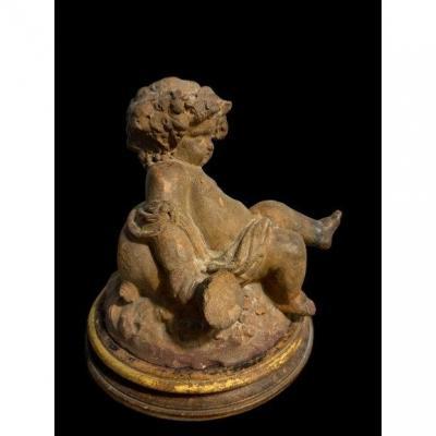 Sculpture Bacchus Enfant En Terre Cuite