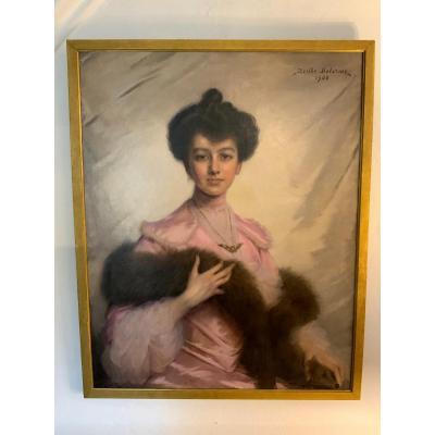 Tableau Portrait Signé Berthe Delorme