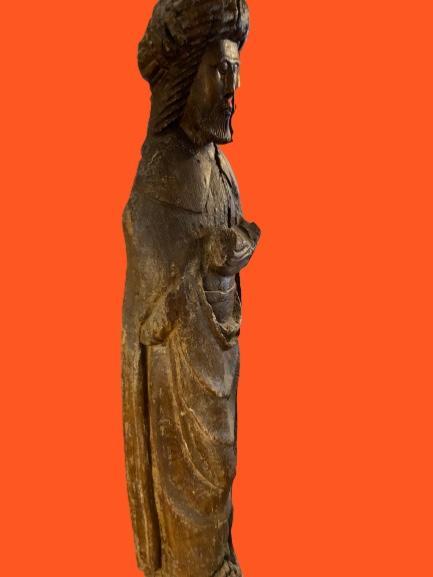 Grande Statue Travail Des Flandres Du XIVe - XVe Siècle-photo-2