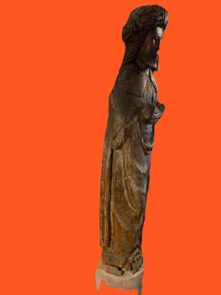 Grande Statue Travail Des Flandres Du XIVe - XVe Siècle-photo-3