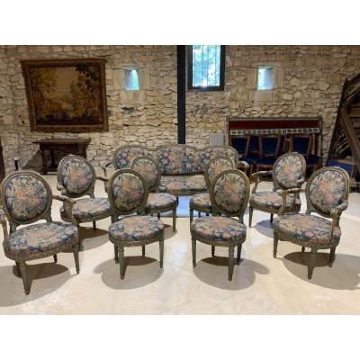 Salon 4 Fauteuils, 4 Chaises, 1 Canapé, Turin 18 ème Sc.