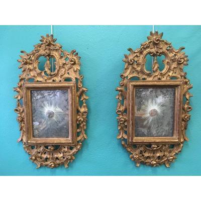 Paire De Miroir 18 ème En Bois Doré
