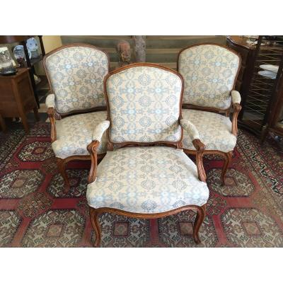 Suite Three Armchairs D Louis XV