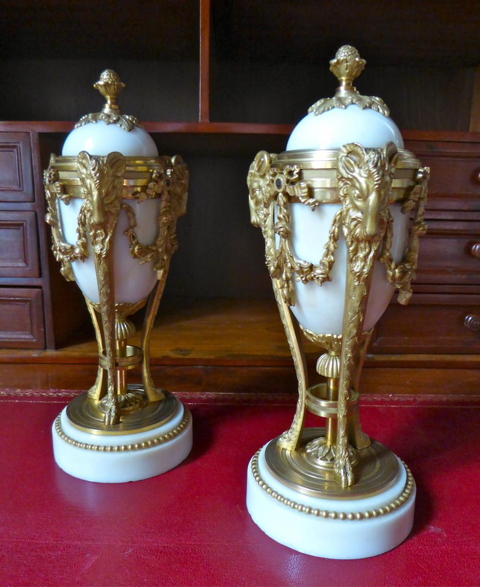 Paire De Cassolette De Style Louis XVI En Bronze Doré XIX ème Siècle