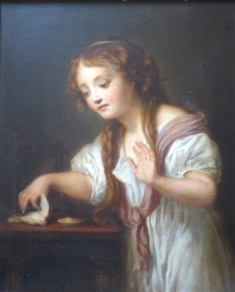 L'oiseau mort, d'après Jean Baptiste Greuse, début XIX ème