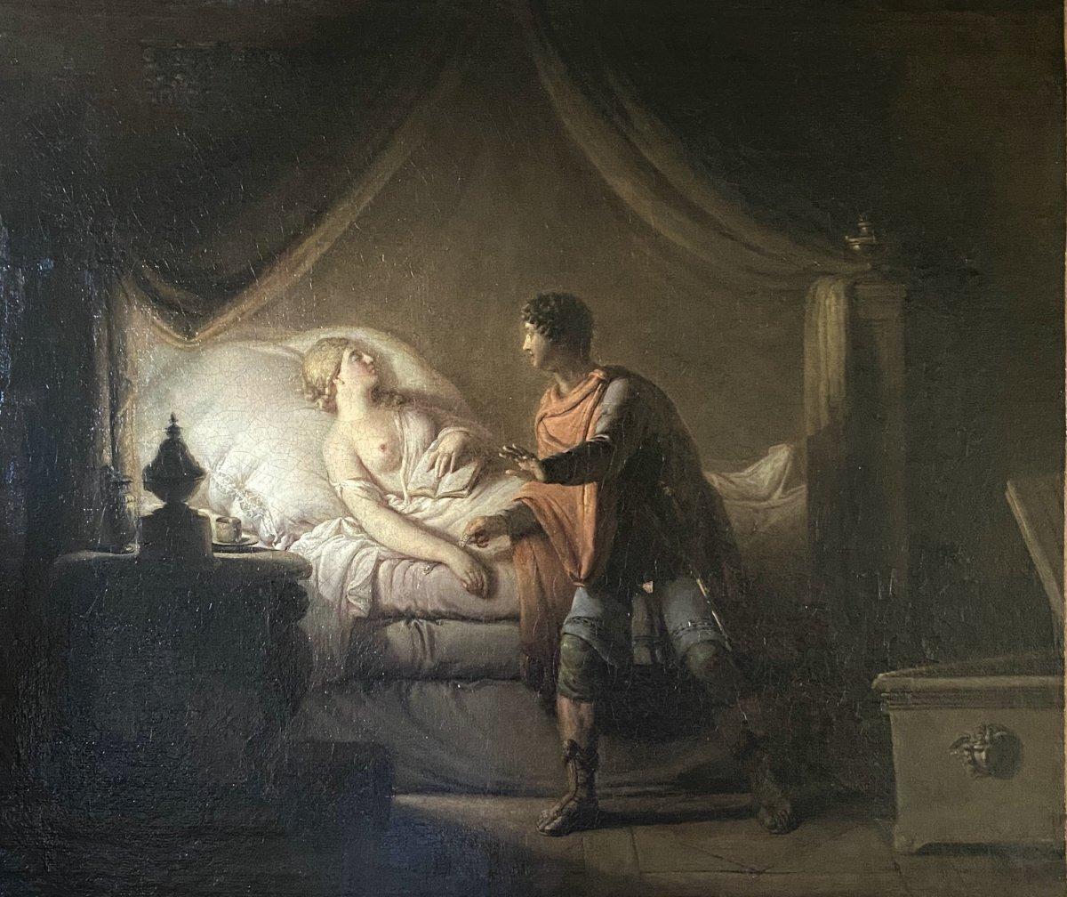 Lachimo dérobant le bracelet d' Imogène, tableau néoclassique.