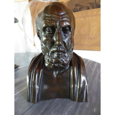 Buste d'un philosophe grec, bronze XIX ème siècle