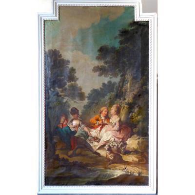 Trés Grand Tableau De Boiserie XVIII ème, Scène Galante