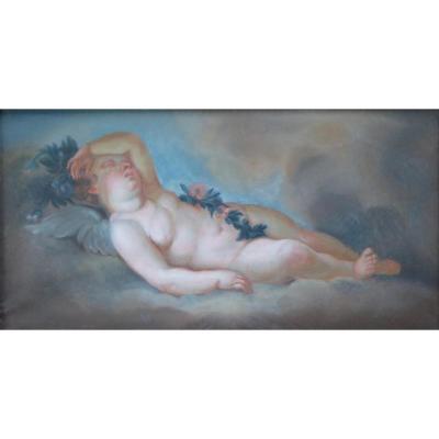 Amour Endormi, Pastel Fin XVIII ème Début XIX ème
