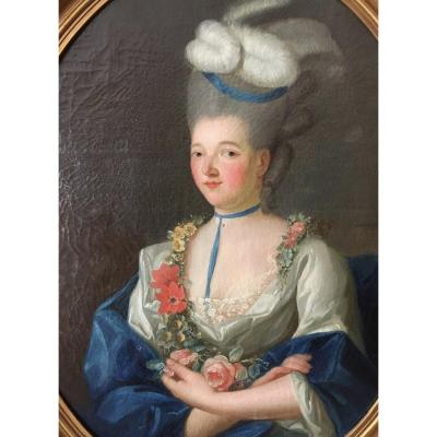 Portrait d'une Dame de qualité, huile sur toile XVIII ème