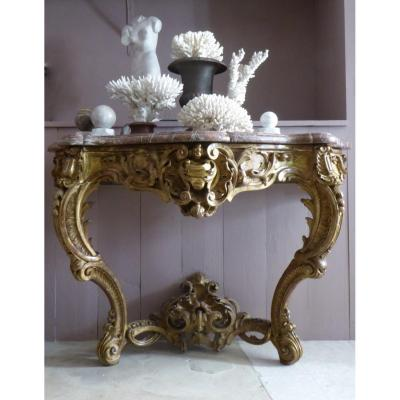Console In Golden Wood Louis XV Style Napoleon III