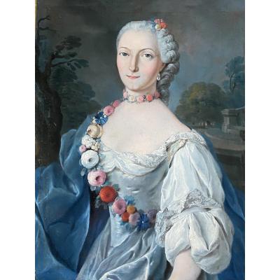 Portrait d'une Dame de qualité, huile sur toile XVIII ème .