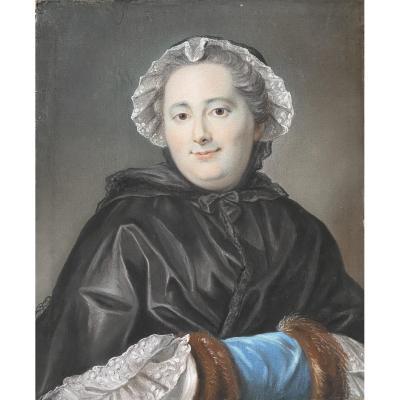 Portrait d'une dame de qualité ,travail XVIII ème d\\\'époque Louis XV.