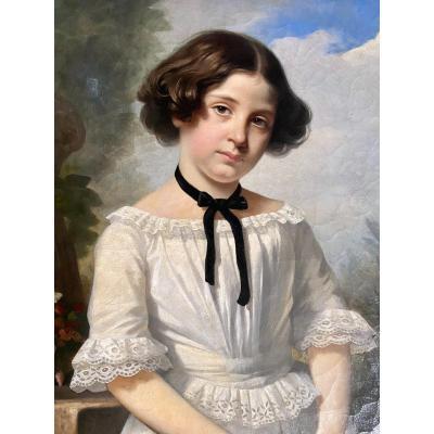 Portrait d'un jeune fille dans un paysage, travail XIX ème .