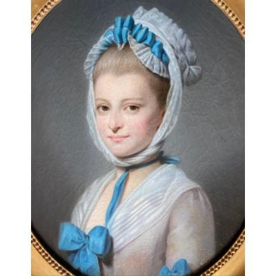 Portrait d'une dame de qualité, travail XIX ème dans le goût du XVIII ème .