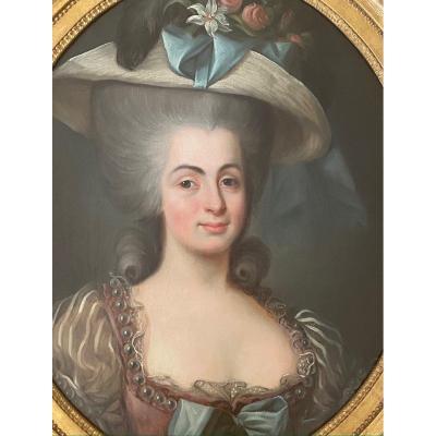 Portrait d'une dame de qualité, travail XVIII ème d'époque Louis XVI.