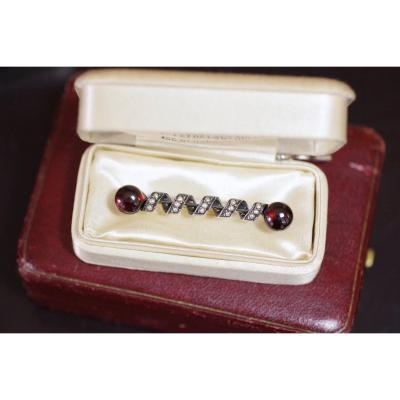 Antique French Victorian Cabochon Garnet Brooch, Pearls Silver Gold 18k,  Late 19th C.