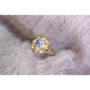 Retro Enamel Ring In Yellow & White 18k Gold, Sky Blue Synthetic Spinel