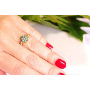 Turquoise Flower Ring In 18k Yellow Gold, Cluster Ring, Turquoise Cabochon, Antique Ring