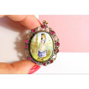 Victorian French Locket Pendant In Silver Plated, Enamelled Ceramic