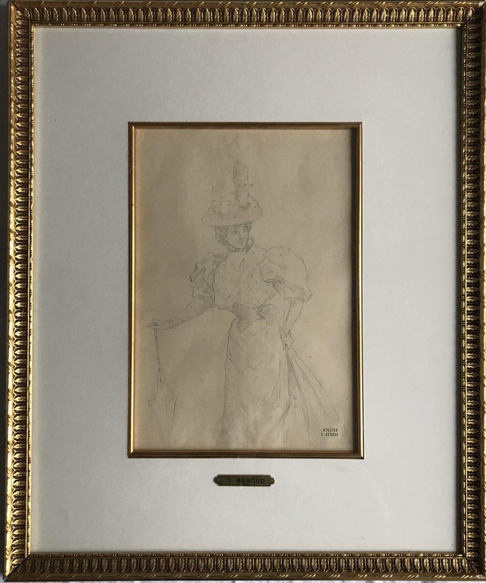 Elégante De Louis Beroud Fusain Sur Papier