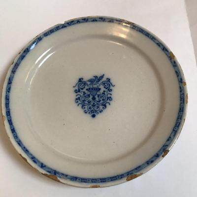 Lille. Earthenware Plate Eighteenth Century