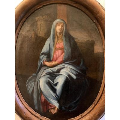 Virgin Of Pain At The Foot Of The Cross. Follower Of Philippe De Champaigne XVII Century