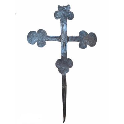 Très Belle Croix Grecque  En Fer Forgé Du XVIIème Siècle