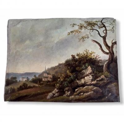 Belle Peinture De Paysage Sur Carton XIXème Siècle