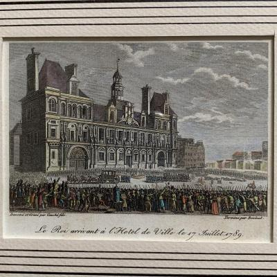 Engraving Representing The Arrival Of King Louis XVI At The Town Hall On July 17, 1789
