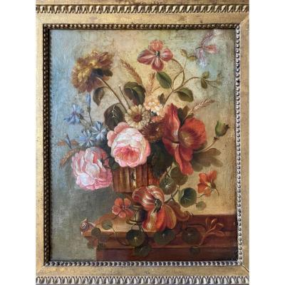 Bouquet Of Flowers On An Entablature