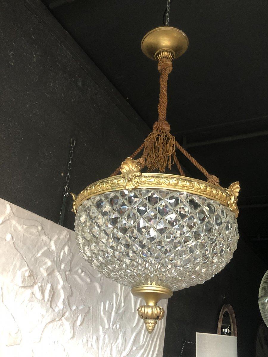Lustre Bronze Et Pampilles En Cristal Taillées
