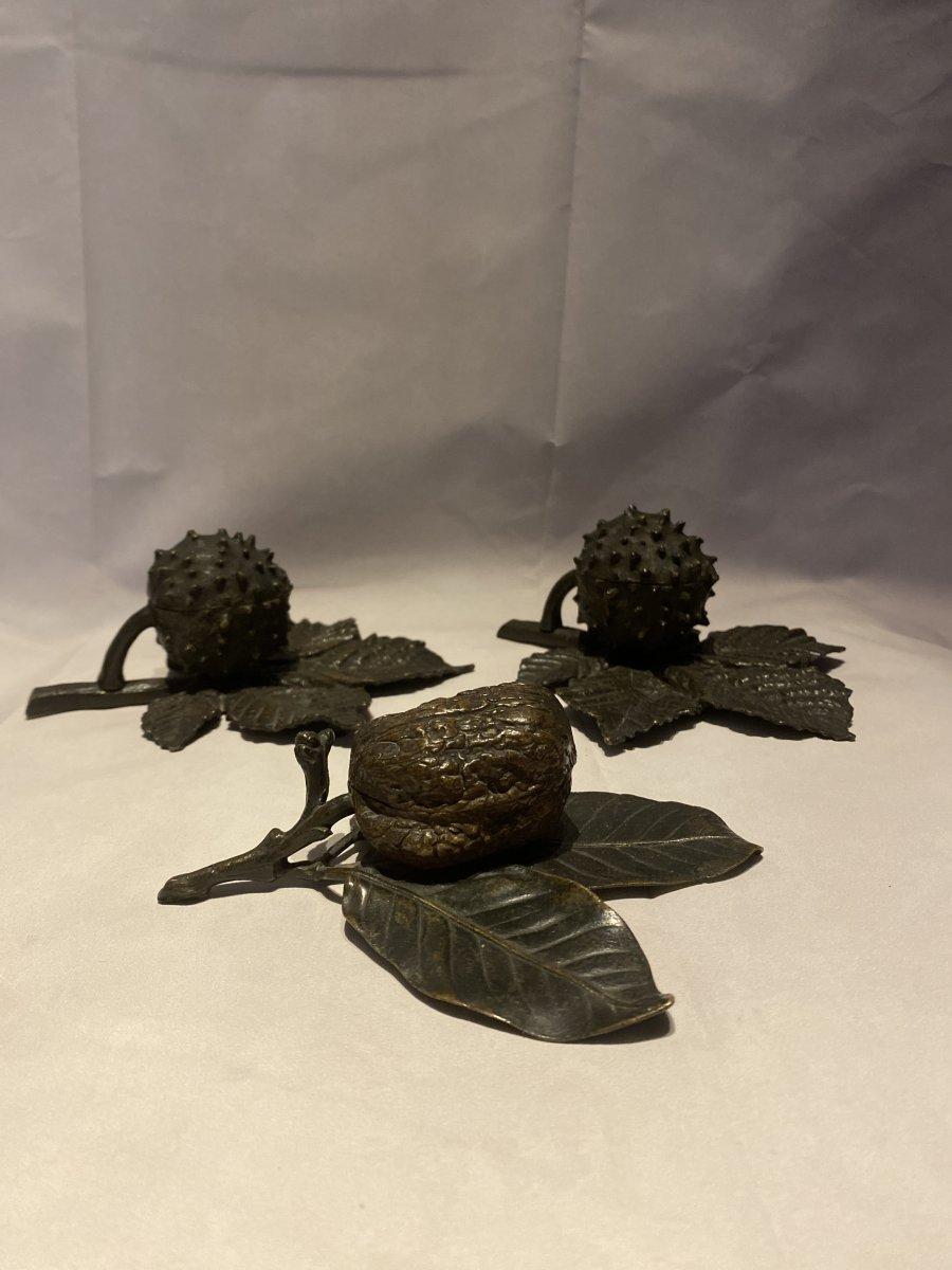 Encriers Et Boîte à Timbres En Bronze 1900