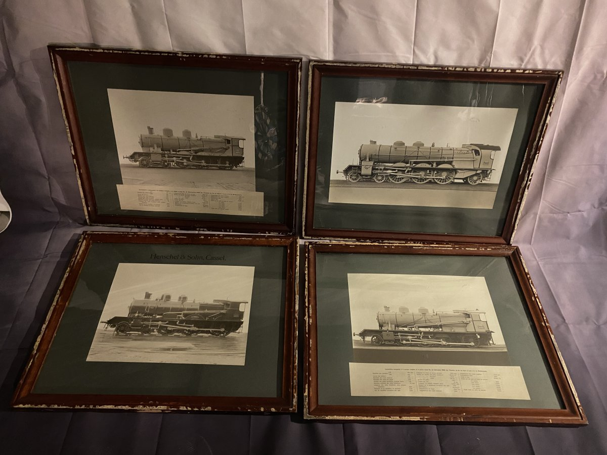 Series Of Four Photographs Of Locomotives