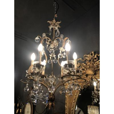 Chandelier With Pendants Metal Gold 1940
