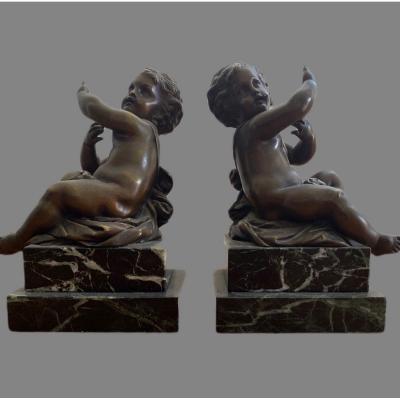 Paire D Angelots En Bronze Et Marbre XIX Eme