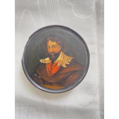 Boîte En Papier Mâche XIX Eme. Portrait De P. P. Rubens