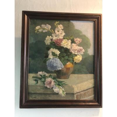 Tableau Huile Sur Toile Bouquet De Fleurs Signe Gerber