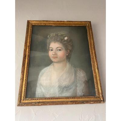 Tableau Pastel Portrait De Jeune Femme