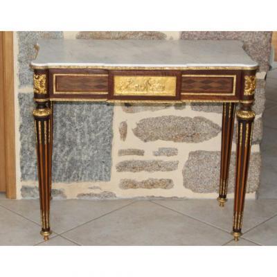 Console De Salon (avec un tiroir) En Marqueterie De Losange Toutes Faces