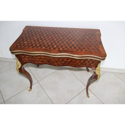 Beautiful Game Table In Trompe l'Oeil Inlaid Cubes